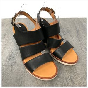 Kork-Ease Carolyne Black Leather Wedge Sandals